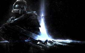 Картинка космос, звезды, оружие, планета, солдат, костюм, Halo 4
