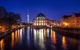 Картинка свет, ночь, мост, город, огни, отражение, река