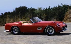 Обои красный, фон, Феррари, 1960, Калифорния, Ferrari, классика