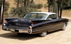 Картинка фон, чёрный, Cadillac, 1960, классика, вид сзади, Coupe