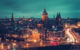 Обои огни, вечер, Амстердам, Нидерланды
