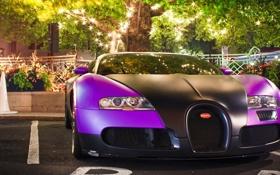 Обои свет, огни, дерево, Bugatti, Veyron, суперкар, бугатти