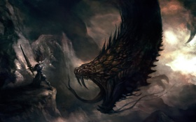 Картинка горы, монстр, меч, арт, мужчина