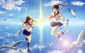 Картинка небо, солнце, облака, птицы, девушки, аниме, арт