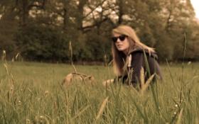 Картинка поле, трава, девушка, настроение