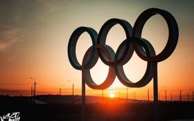 Обои закат, кольца, олимпиада, набережная, Владимир Смит, Vladimir Smith, Калуга