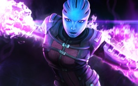Обои Азари, арт, Asari Vanguard, Mass Effect, биотик