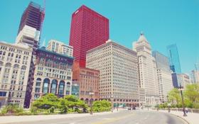 Обои небо, здания, дома, чикаго, центр города, иллинойс