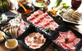 Картинка суп, мясо, морепродукты, креветки, соус, моллюски, японская кухня