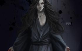 Картинка кровь, волосы, демон, арт, кляксы, парень, красные глаза