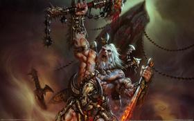 Обои варвар, меч, старик, diablo 3