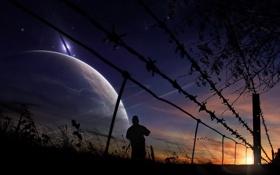 Картинка закат, космос, трава, небо, солнце, колючка, забор
