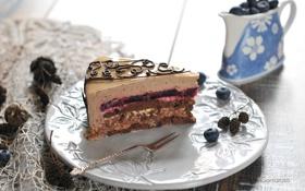 Обои торт, вилка, слои, голубика