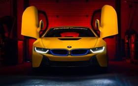 Обои BMW, Dark, Car, Front, Yellow, Motorsport, Wheels