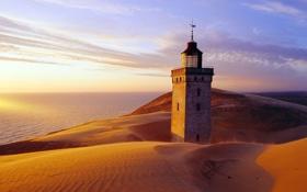 Картинка песок, море, маяк, башня, Rubjerg Knude