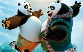 Обои радость, счастье, встреча, мультфильм, панды, Kung Fu Panda 3, Кунг-фу Панда 3