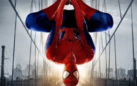Обои небо, мост, дома, паутина, костюм, видеоигра, Peter Parker