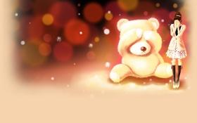 Картинка девушка, эмоции, игрушка, медведь