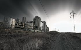 Картинка дорога, ночь, столб, фабрика