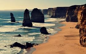 Обои Двенадцать Апостолов, известняк, Порт Кэмпбелл Национальный парк, солнечный, Австралия, волны, пляж