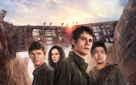 Обои фантастика, скалы, развалины, постер, персонажи, Kaya Scodelario, Thomas Sangster