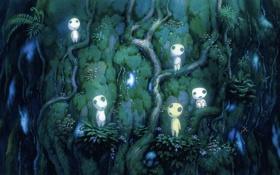Картинка Kodama, дух, Mononoke Hime, дерево, мох, аниме, стрекоза