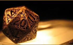 Обои gold, dice, decorated, 1d20
