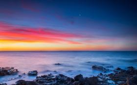Картинка зима, море, небо, закат, камни, океан, луна