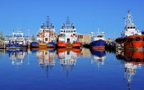 Обои порт, Australia, отражение, Fremantle, корабли, Австралия, Фримантл