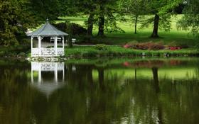 Обои пейзаж, озеро, парк, беседка