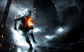 Картинка город, человек, мужчина, руины, Battlefield 3, монохромное, Aftermath
