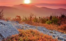 Обои осень, небо, трава, солнце, закат, горы, скалы