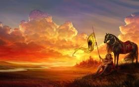 Обои девушка, пейзаж, закат, лошадь, доспехи, флаг, арт