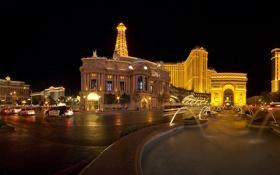 Обои дорога, ночь, огни, панорама, фонтан, Невада, автомобили