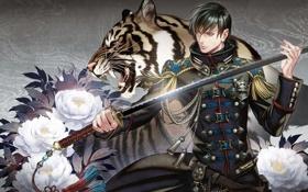 Картинка цветы, тигр, меч, катана, форма, Мужчина