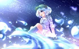 Обои эмоции, волна, арт, девочка, touhou, kawashiro nitori, aru