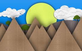 Обои картон, деревья, день, лето, mountains, горы, солнце