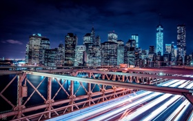Картинка ночь, мост, город, река, вид, здания, дома