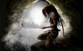 Картинка вода, девушка, брызги, арт, Tomb Raider, пещера, Lara Croft