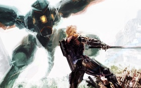 Картинка Metal Gear RAY, cyborg, art, mgr, Metal Gear Rising: Revengeance, Raiden