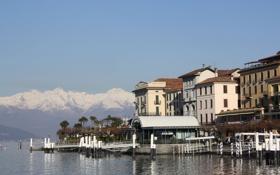 Картинка небо, горы, город, фото, дома, горизонт, Италия