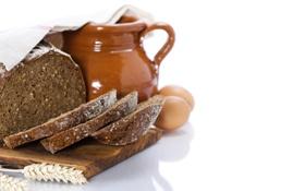 Обои яйца, хлеб, кувшин, колосок, салфетка, ломти