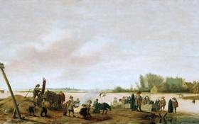 Картинка зима, пейзаж, люди, картина, жанр, Winter Landscape on the Shore, Salomon van Ruysdael