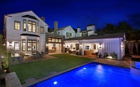 Обои ночь, огни, дом, газон, вилла, бассейн, Калифорния