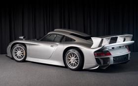 Картинка серый, фон, 911, Porsche, суперкар, порше, вид сзади