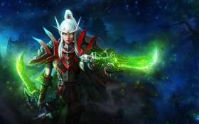 Обои магия, арт, World of Warcraft, эльфийка, wow, кинжалы, Blood Elf Rogue