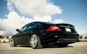 Картинка небо, облака, пальмы, чёрный, Mercedes, black, мерседес