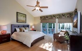Обои стиль, кровать, кресло, люстра, штора, спальня