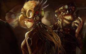 Обои девушка, механизм, клюв, арт, стимпанк, шлем, парень