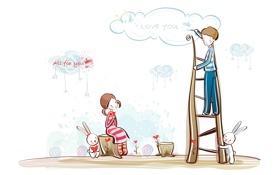 Обои облака, рисунок, мальчик, лестница, девочка, сердечки, зайцы